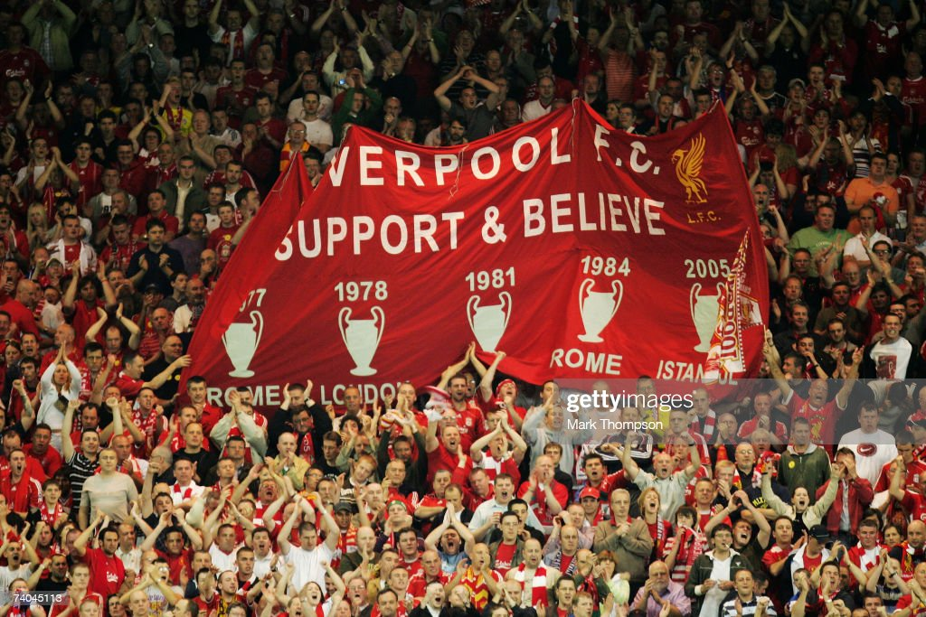 Liverpool fans in the KOP End cheer prior to the UEFA Champions League semi final second leg match between Liverpool and Chelsea at Anfield on May 1, 2007 in Liverpool, England.