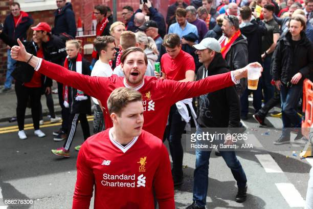Liverpool fans prior to the Premier League match between Liverpool and Middlesbrough at Anfield on May 21 2017 in Liverpool England