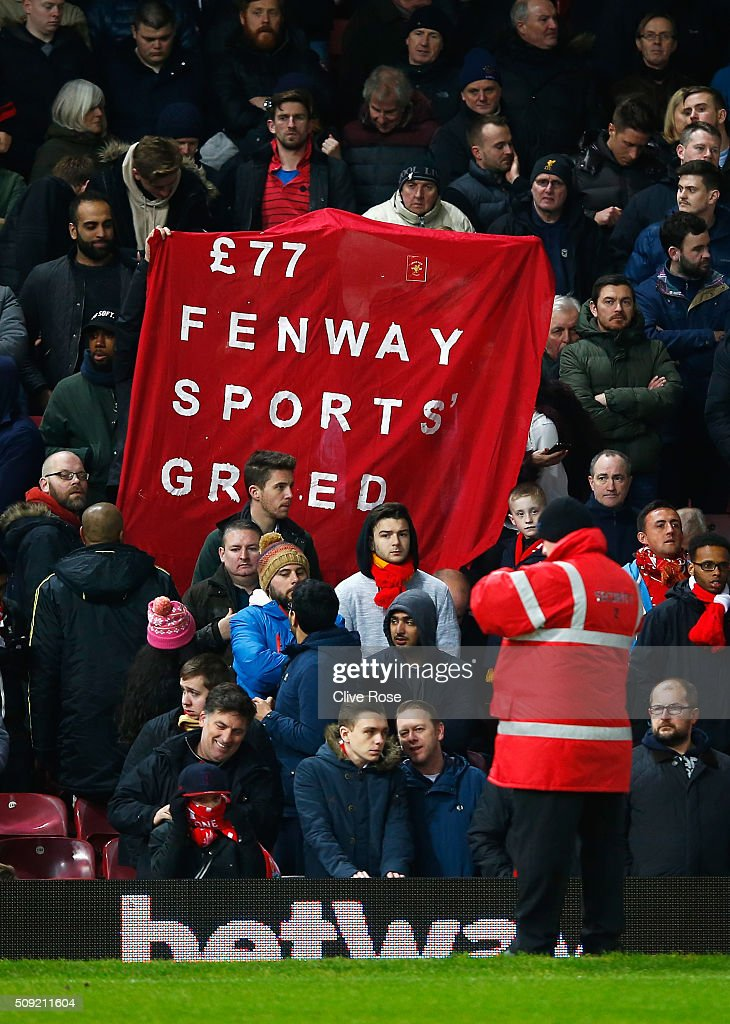 Liverpool fans protest against high ticket prices during the Emirates FA Cup Fourth Round Replay match between West Ham United and Liverpool at Boleyn Ground on February 9, 2016 in London, England.