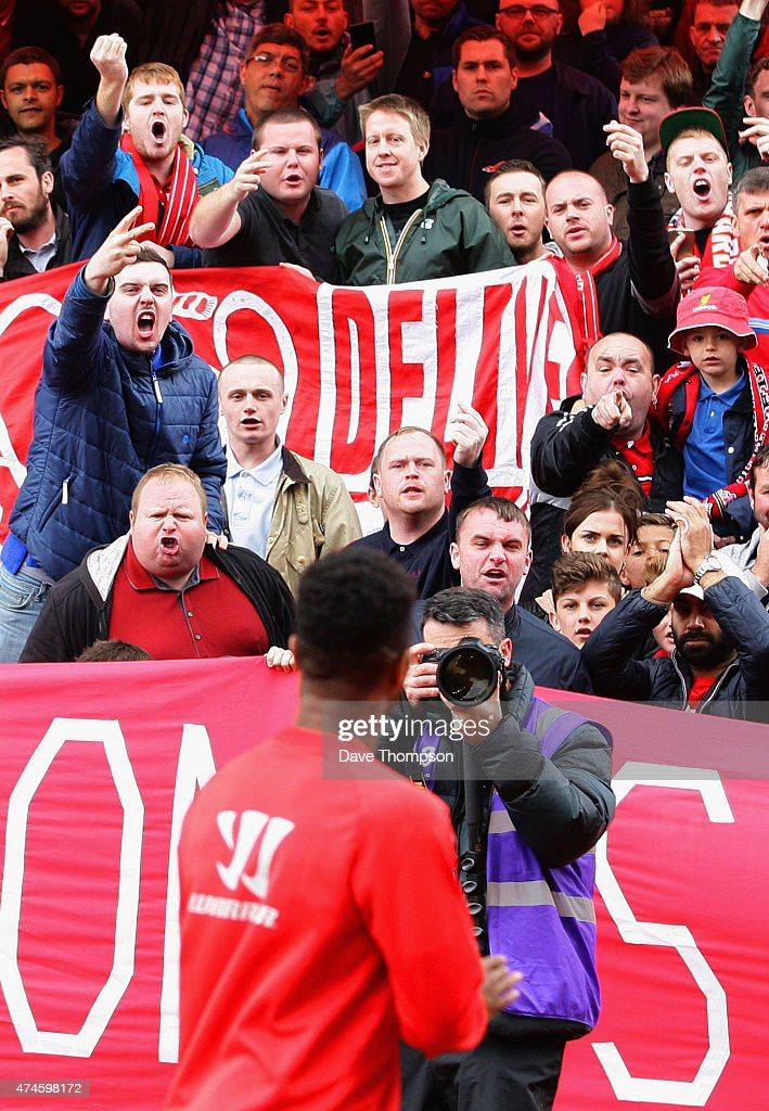 Liverpool fans react towards Raheem Sterling prior to the Barclays Premier League match between Stoke City and Liverpool at Britannia Stadium on May...
