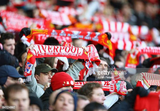 Liverpool fans show their support during the Barclays Premier League match between Liverpool and Bolton Wanderers at Anfield on December 26 2008 in...