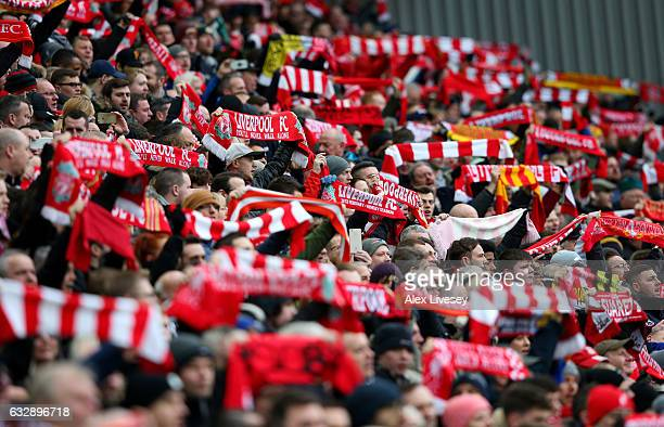 Liverpool fans show their support during the Emirates FA Cup Fourth Round match between Liverpool and Wolverhampton Wanderers at Anfield on January...