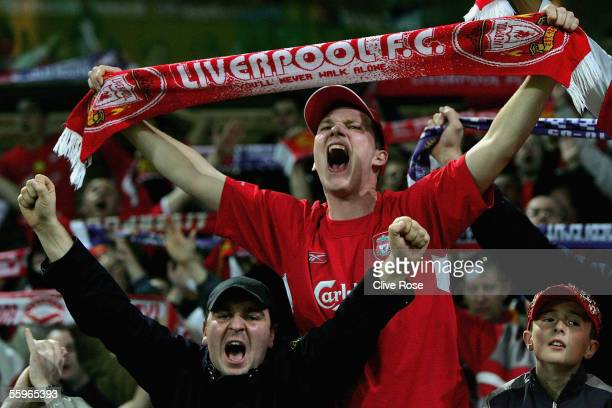 Liverpool fans show their support during the UEFA Champions League group G match between RSC Anderlecht and Liverpool at the Constant Vanden Stock...