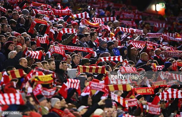 Liverpool fans show their support prior to the Barclays Premier League match between Liverpool and Swansea City at Anfield on November 29 2015 in...