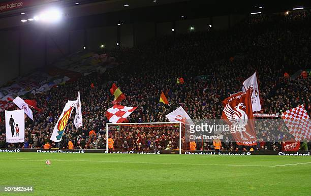 Liverpool fans show their support prior to the Emirates FA Cup Fourth Round match between Liverpool and West Ham United at Anfield on January 30 2016...