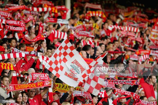 Liverpool fans show their support prior to the start of the UEFA Champions League Quarter Final second leg match between Liverpool and PSV Eindhoven...