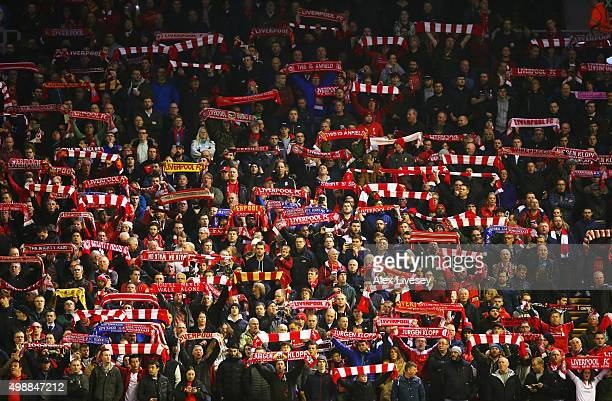 Liverpool fans show their support prior to the UEFA Europa League Group B match between Liverpool FC and FC Girondins de Bordeaux at Anfield on...