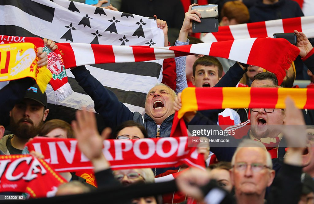 Liverpool fans show their support prior to the UEFA Europa League semi final second leg match between Liverpool and Villarreal CF at Anfield on May 5, 2016 in Liverpool, England.