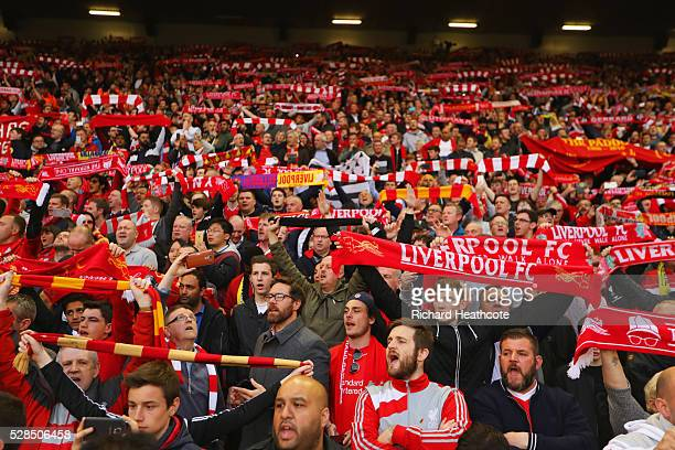 Liverpool fans show their support prior to the UEFA Europa League semi final second leg match between Liverpool and Villarreal CF at Anfield on May 5...