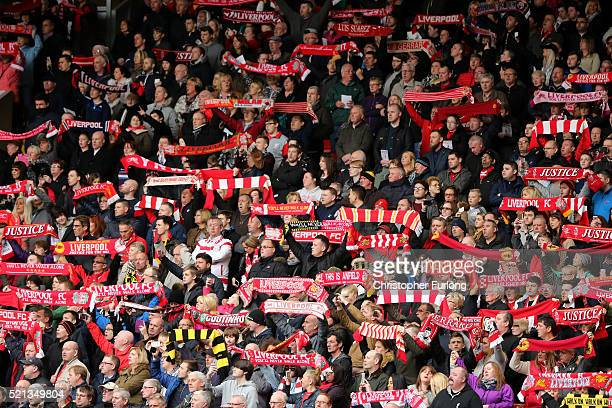 Liverpool fans sing 'You'll Never Walk Alone' during a memorial service to mark the 27th anniversary of the Hillsborough disaster at Anfield stadium...