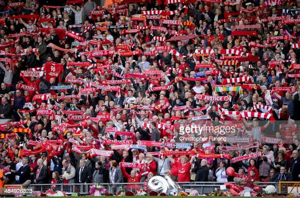 Liverpool fans sing 'You'll Never Walk Alone' during the Hillsborough memorial service marking the 25th anniversary of the Hillsborough Disaster at...