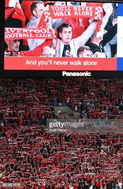 Liverpool fans sing You'll Never Walk Alone during the International Friendly match between Sydney FC and Liverpool FC at ANZ Stadium on May 24 2017...