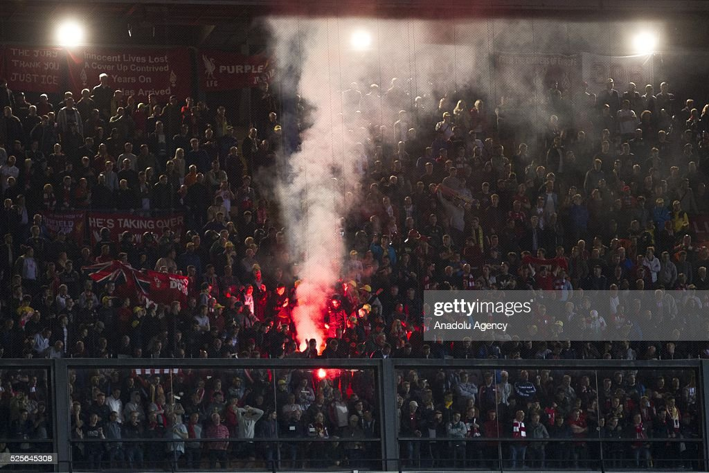 Liverpool fans support their team during the UEFA Europa League Semi Final match between Villarreal and Liverpool at Estadio El Madrigal in Villareal, Spain on April 28, 2016.