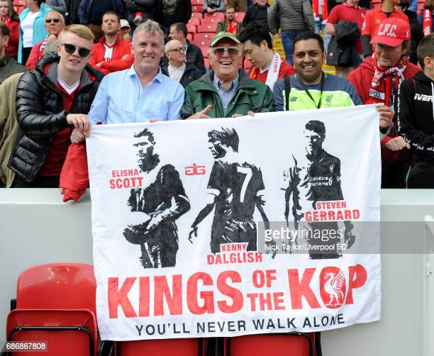 Liverpool fans unveil a banner before the Premier League match between Liverpool and Middlesbrough at Anfield on May 21 2017 in Liverpool England