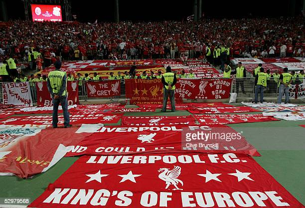 Liverpool fans wait for the start of the European Champions League final between Liverpool and AC Milan on May 25 2005 at the Ataturk Olympic Stadium...
