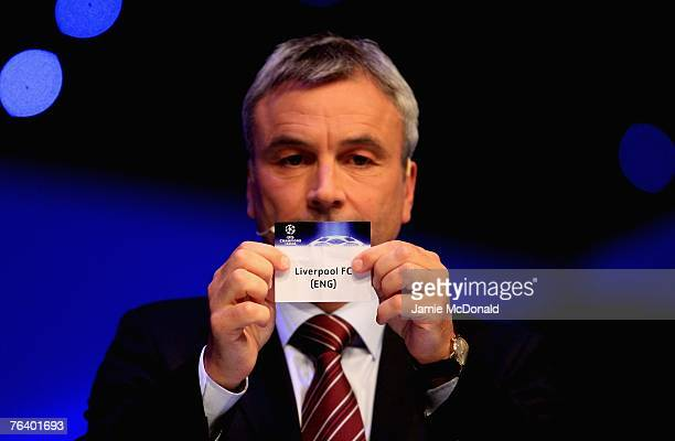 Liverpool FC are drawn into Champions League Group B during the UEFA Champions League Group Stage Draw at the Grimaldi Forum on August 30 2007 in...