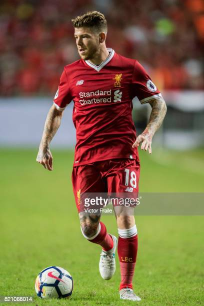 Liverpool FC defender Alberto Moreno in action during the Premier League Asia Trophy match between Liverpool FC and Leicester City FC at Hong Kong...