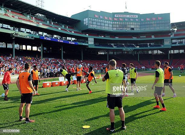 Liverpool FC during a training session at Fenway Park on July 22 2014 in Boston Massachusetts