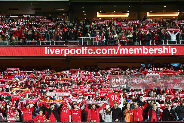 Liverpool FC fans sing and support before the international friendly match between Adelaide United and Liverpool FC at Adelaide Oval on July 20 2015...