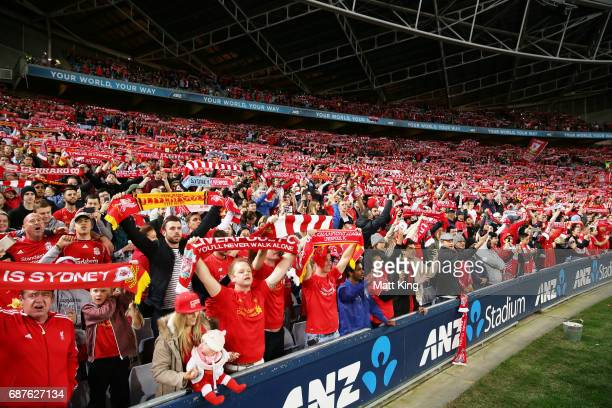 Liverpool FC fans sing before the International Friendly match between Sydney FC and Liverpool FC at ANZ Stadium on May 24 2017 in Sydney Australia