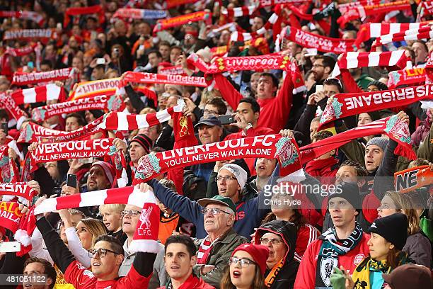Liverpool FC fans sing 'You'll never walk alone' before the start of the international friendly match between Brisbane Roar and Liverpool FC at...