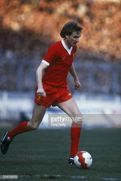 Liverpool FC footballer Phil Thompson playing in the Milk Cup 1982