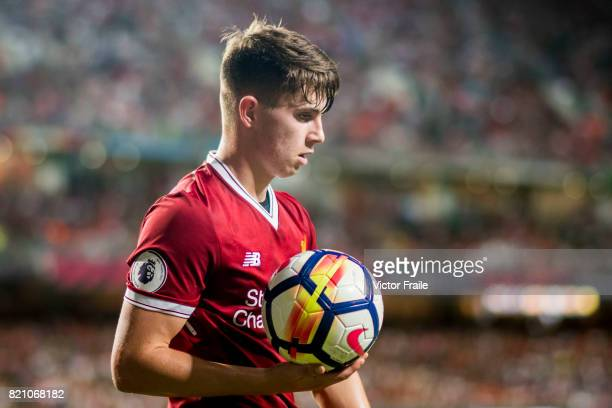Liverpool FC forward Ben Woodburn looks on during the Premier League Asia Trophy match between Liverpool FC and Leicester City FC at Hong Kong...