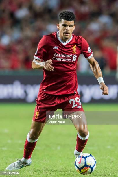 Liverpool FC forward Dominic Solanke in action during the Premier League Asia Trophy match between Liverpool FC and Leicester City FC at Hong Kong...