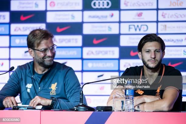 Liverpool FC head coach Jurgen Klopp and Liverpool FC Midfielder Adam Lallana speaks to the media during a Premier League Asia Trophy Press...