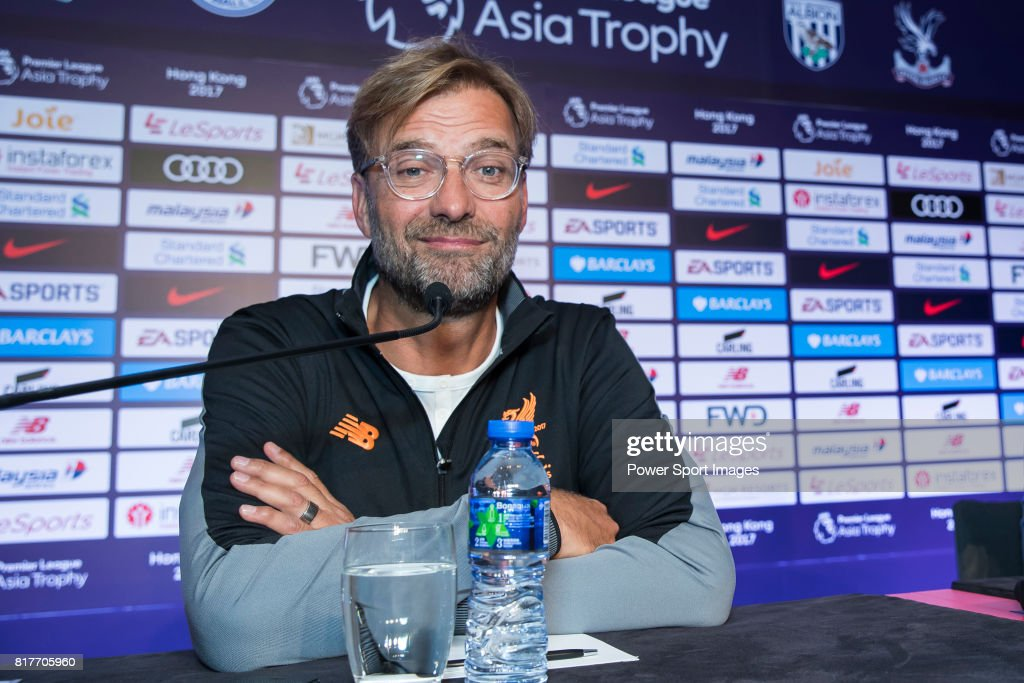 Liverpool FC head coach Jurgen Klopp speaks to the media during the Premier League Asia Trophy 2017 Pre-Match Press Conferences at the Grand Hyatt Hotel on July 18, 2017 in Hong Kong, Hong Kong.
