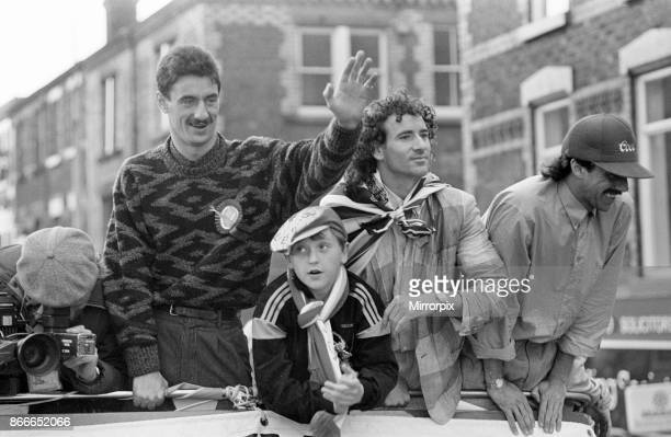 Liverpool FC Homecoming Victory Parade after winning the FA Cup and completing a League and Cup double Sunday 11th May 1986 Ian Rush Craig Johnston...