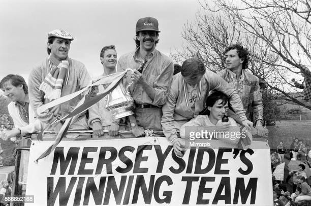 Liverpool FC Homecoming Victory Parade after winning the FA Cup and completing a League and Cup double Sunday 11th May 1986 Kenny Dalglish Mark...