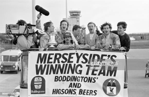 Liverpool FC Homecoming Victory Parade after winning the FA Cup and completing a League and Cup double Sunday 11th May 1986 Mark Lawrenson Craig...