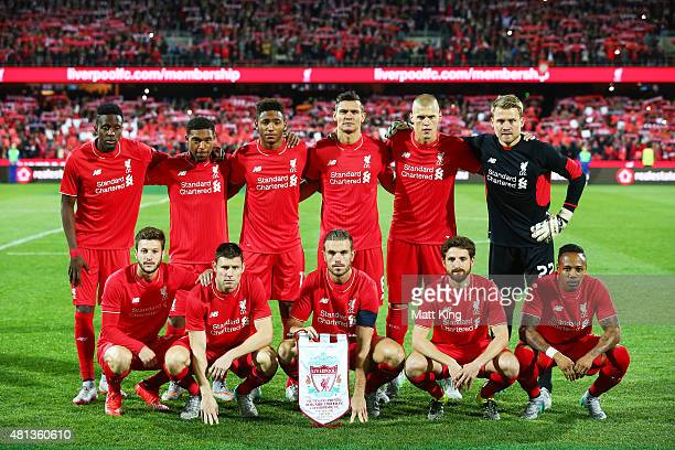 Liverpool FC lines up before the international friendly match between Adelaide United and Liverpool FC at Adelaide Oval on July 20 2015 in Adelaide...