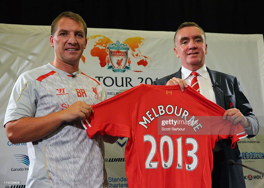 Liverpool FC Manager Brendan Rodgers and Managing Director Ian Ayre hold a Liverpool jersey aloft during a Liverpool FC Press Conference at the Grand Hyatt on July 22, 2013 in Melbourne, Australia.