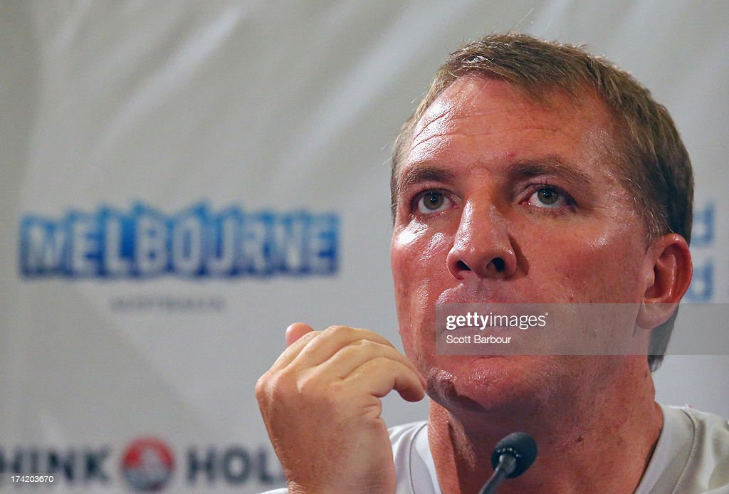 Liverpool FC Manager Brendan Rodgers speaks to the media during a Liverpool FC Press Conference at the Grand Hyatt on July 22, 2013 in Melbourne, Australia.