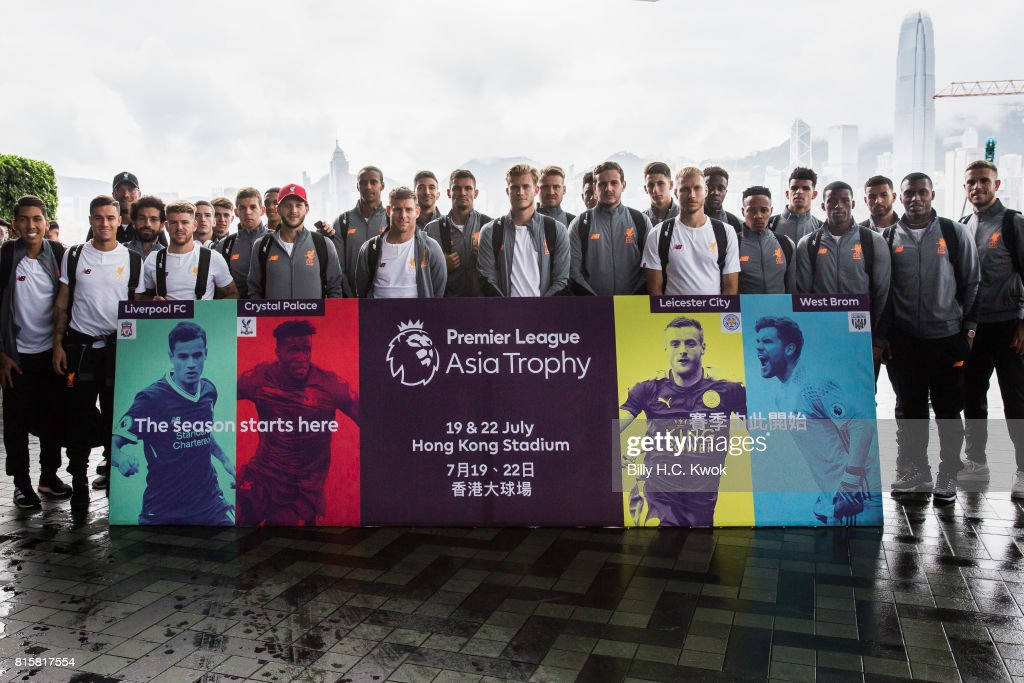Liverpool FC players with manager Jurgen Klopp on arrival in Hong Kong on July 17, 2017 for the Premier League Asia Trophy, which takes place this week. Crystal Palace, Leicester City and West Bromwich Albion will also compete in the tournament on 19 and 22 July at the Hong Kong stadium.
