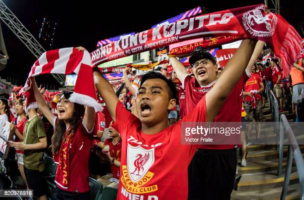 Liverpool FC soccer fans during the Premier League Asia Trophy match between West Brom and Crystal Palace at Hong Kong Stadium on July 22 2017 in...