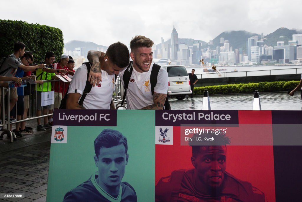 Liverpool FC's Alberto Moreno and Philippe Coutinho arrive in Hong Kong on July 17, 2017 for the Premier League Asia Trophy in Hong Kong, Hong Kong. Crystal Palace, Leicester City and West Bromwich Albion will also compete in the tournament on 19 and 22 July at the Hong Kong stadium.