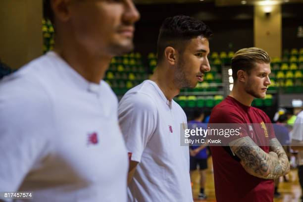 Liverpool FC's Dejan Lovren Marko Grujic and Loris Karius attend Premier League Asia Trophy Skills Session at Macpherson Stadium on July 18 2017 in...