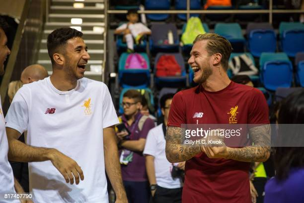 Liverpool FC's Marko Grujic and Loris Karius attend Premier League Asia Trophy Skills Session at Macpherson Stadium on July 18 2017 in Hong Kong Hong...