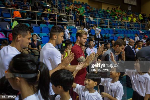 Liverpool FC's Marko Guduric Dejan Lovren Loris Karius Jon Flanagan attach Premier League Asia Trophy Skills Session at Macpherson Stadium on July 18...