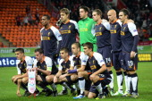 Liverpool FC's players pose for a photograph before the UEFA Europe League group A football match between FC Anzhi Makhachkala and Liverpool FC in...