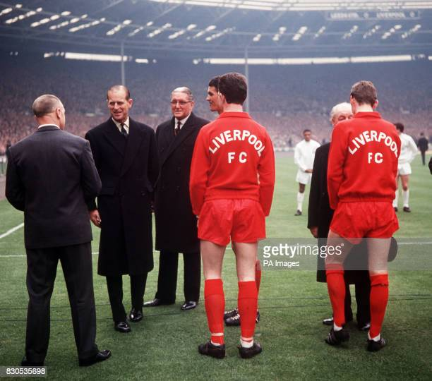 Liverpool football manager Bill Shankly is greeted by the Duke of Edinburgh before the start of their 1965 FA Cup Final football match against Leeds...