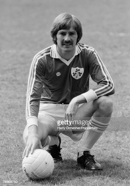 Football June 1980 Anfield Liverpool Liverpool player Steve Heighway wearing his Republic of Ireland kit poses for his testimonial brochure