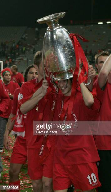 Liverpool forward Luis Garcia of Spain lifts the European Cup after Liverpool won the European Champions League final against AC Milan on May 25 2005...