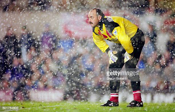 Liverpool goalkeeper Bruce Grobbelaar looks on during a snow shower during a 30 win to Newcastle during the FA Premier league match between Newcastle...