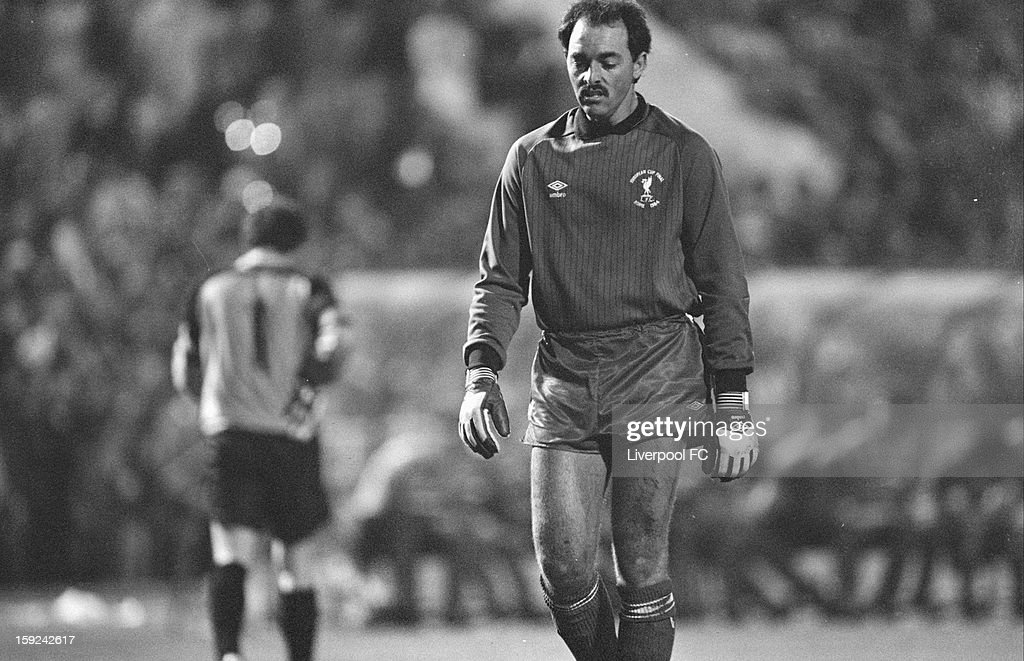 Liverpool goalkeeper Bruce Grobbelaar prepares to face penalties to decide the game during the UEFA European Cup Final between AS Roma and Liverpool FC held on May 30, 1984 at the Stadio Olimpico in Rome, Italy. The match ended in a 1-1 after extra-time, with Liverpool winning the match and trophy 4-2 on Penalties.
