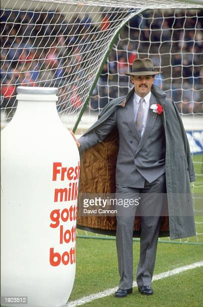 Liverpool goalkeeper Bruce Grobbelaar stands beside a huge bottle of milk before the Milk Cup final at Wembley Stadium in London The match ended in a...
