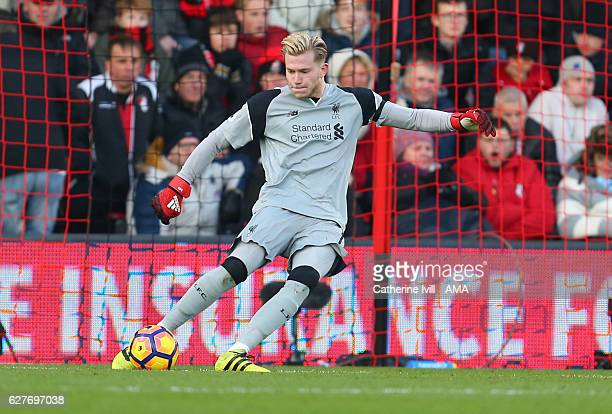 Liverpool goalkeeper Loris Karius during the Premier League match between AFC Bournemouth and Liverpool at Vitality Stadium on December 4 2016 in...